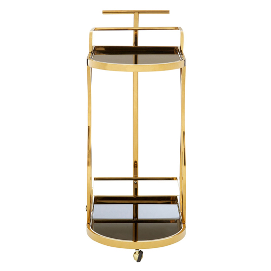 Kurhah 2 Tier Wavy Design Bar Trolley In Gold   _2