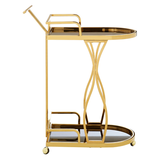Kurhah 2 Tier Wavy Design Bar Trolley In Gold   _3