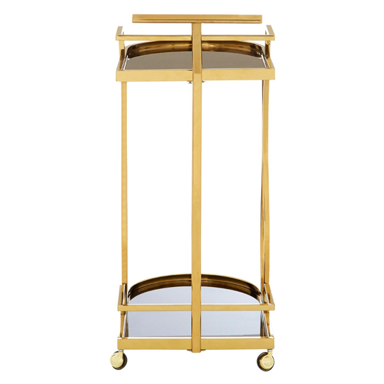 Kurhah 2 Tier Wavy Design Bar Trolley In Gold   _4