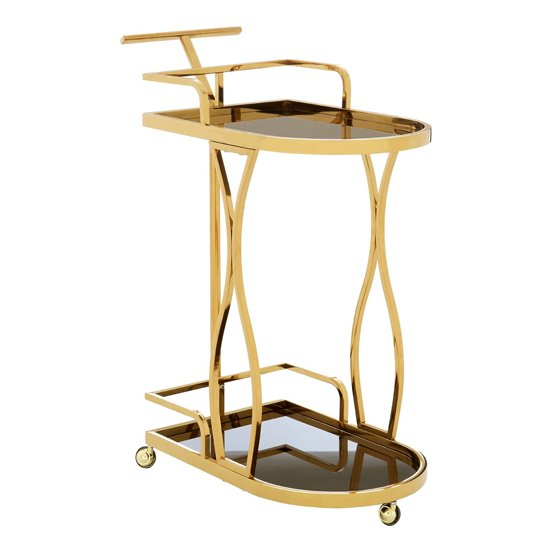 Kurhah 2 Tier Wavy Design Bar Trolley In Gold   _1