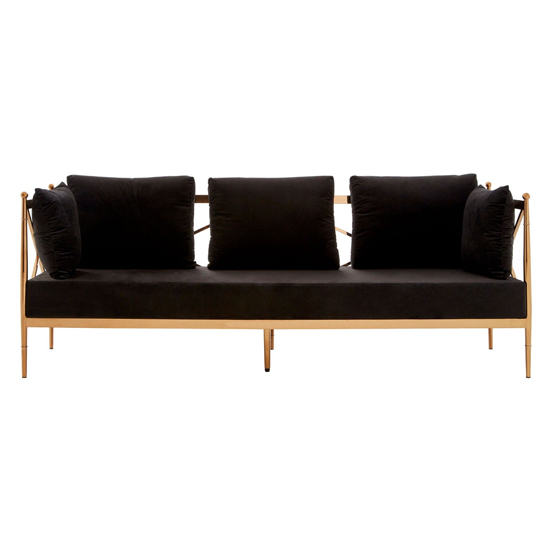 Kurhah 3 Seater Sofa In Black With Rose Gold Lattice Arms