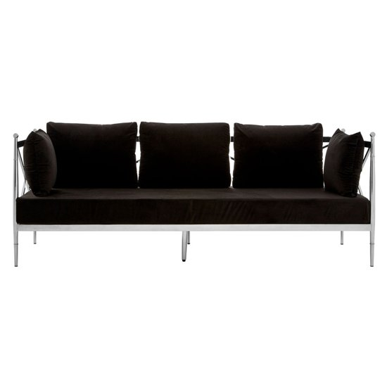 Kurhah 3 Seater Sofa In Black With Silver Lattice Sides