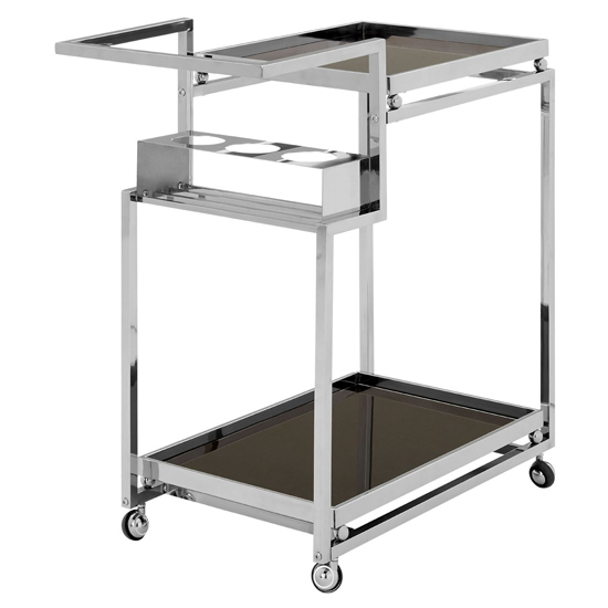 Kurhah 3 Tier Bar Trolley With Silver Finish Frame   _4