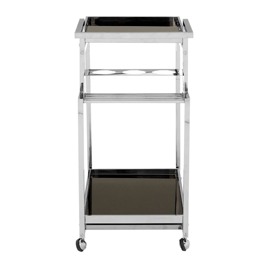 Kurhah 3 Tier Bar Trolley With Silver Finish Frame   _5