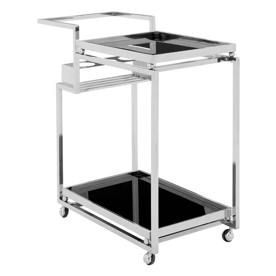 View Kurhah 3 tier bar trolley with silver finish frame