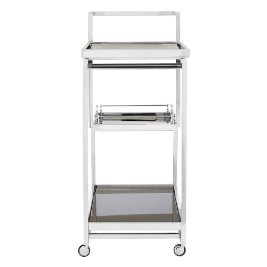 Kurhah 3 Tier Bar Trolley With Silver Finish Frame   _3