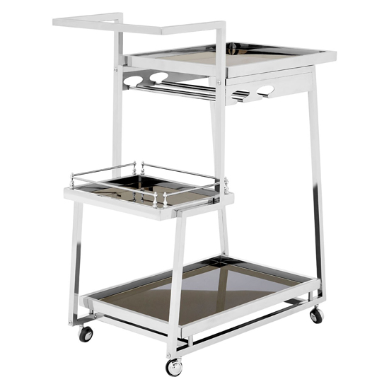 Kurhah 3 Tier Bar Trolley With Silver Finish Frame
