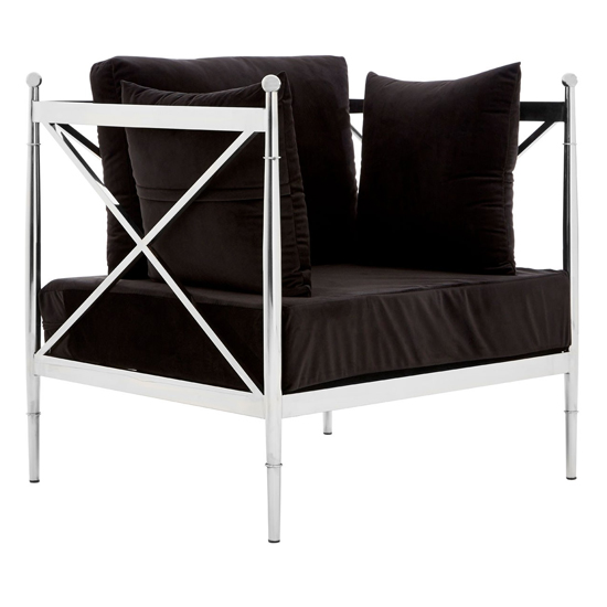 Kurhah Bedroom Chair In Black With Silver Lattice Arms   _2