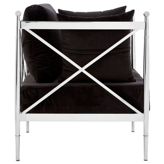 Kurhah Bedroom Chair In Black With Silver Lattice Arms   _3