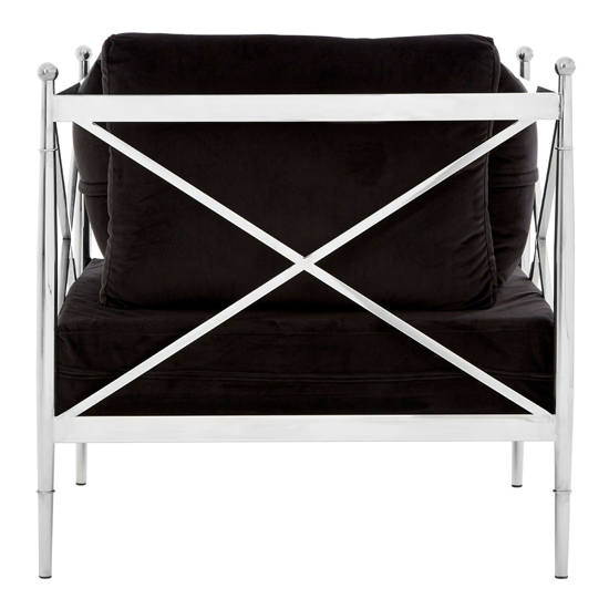 Kurhah Bedroom Chair In Black With Silver Lattice Arms   _4