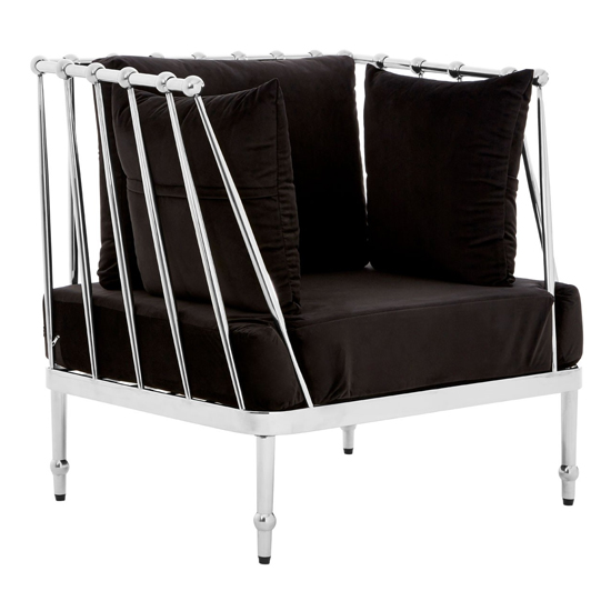 Kurhah Bedroom Chair In Black With Silver Finish Tapered Arms  _2