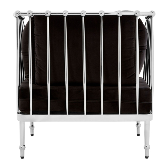 Kurhah Bedroom Chair In Black With Silver Finish Tapered Arms  _4