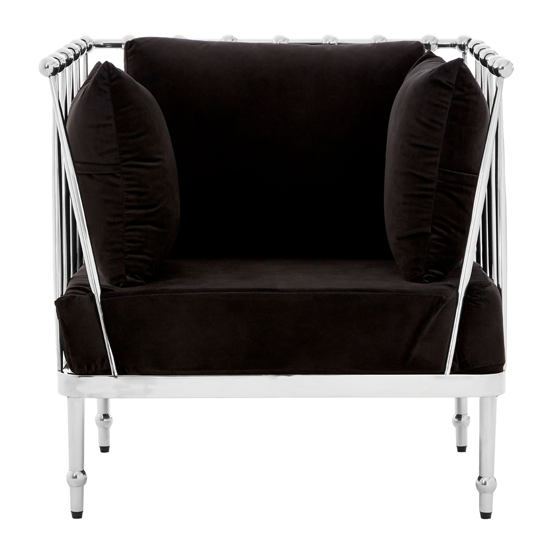Kurhah Bedroom Chair In Black With Silver Finish Tapered Arms  _1