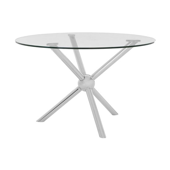 Novo Glass Round Dining Table In Silver