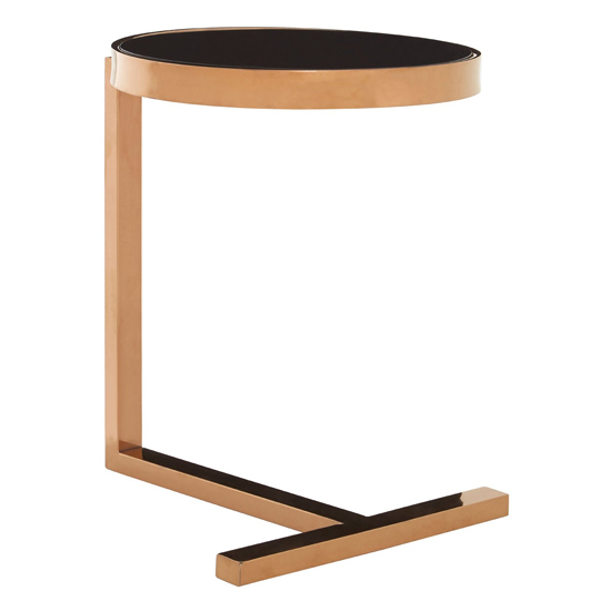 Kurhah Glass Side Table In Rose Gold With T-Shaped Base