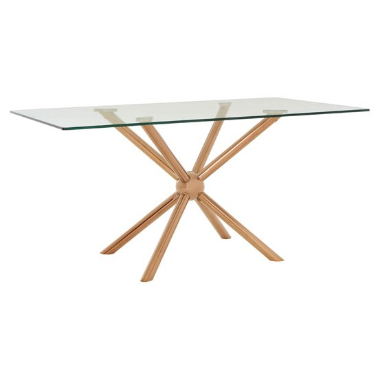 Kurhah Rectangular Dining Table In Rose Gold