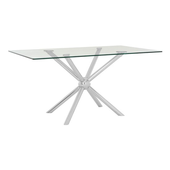 Novo Rectangular Dining Table In Silver With Glass Top