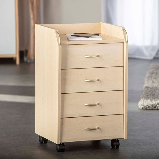 Novo Office Pedestal Cabinet In Maple With 4 Drawers