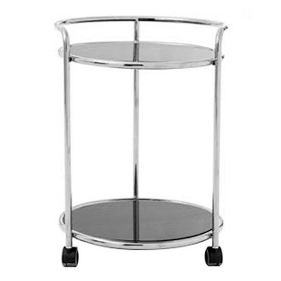 Kurhah Round Bar Trolley In Silver With Black Glass Shelves  _1