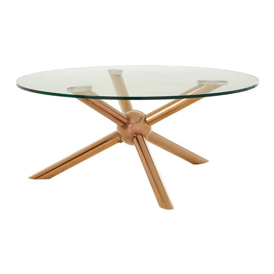 Kurhah Round Coffee Table In Rose Gold