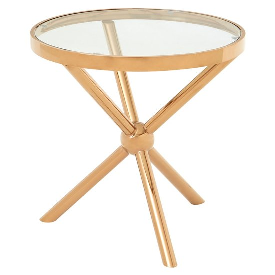 Kurhah Round Side Table In Rose Gold     _2