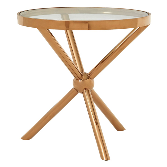 Kurhah Round Side Table In Rose Gold     _1