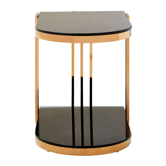 Kurhah U-Shaped Side Table In Rose Gold     _2