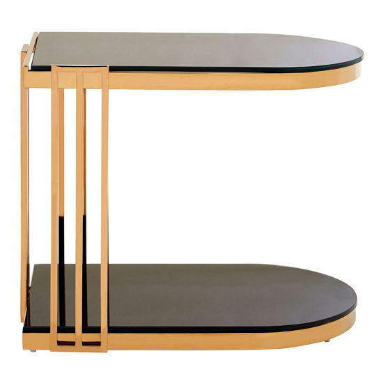 Kurhah U-Shaped Side Table In Rose Gold     _3