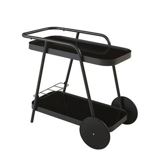 Novogratz Aluminum Drinks Trolley In Charcoal With 2 Shelves_2