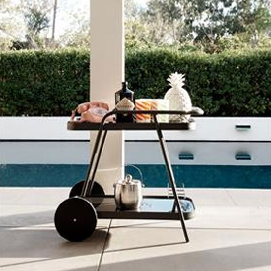 Novogratz Aluminum Drinks Trolley In Charcoal With 2 Shelves