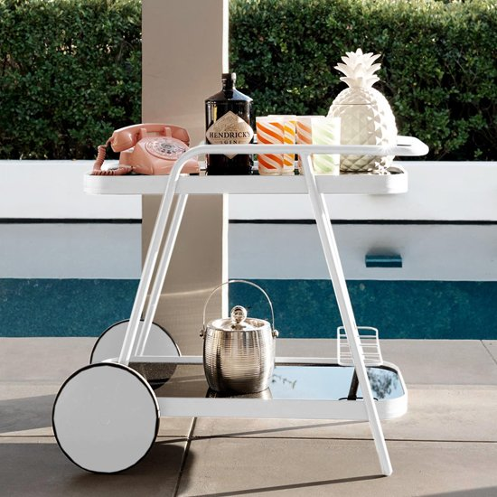 Novogratz Aluminium Drinks Trolley In White With 2 Shelves