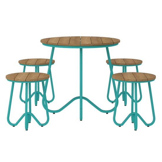Novogratz Bobbi Bistro Set In Turquoise With 4 Stools_2