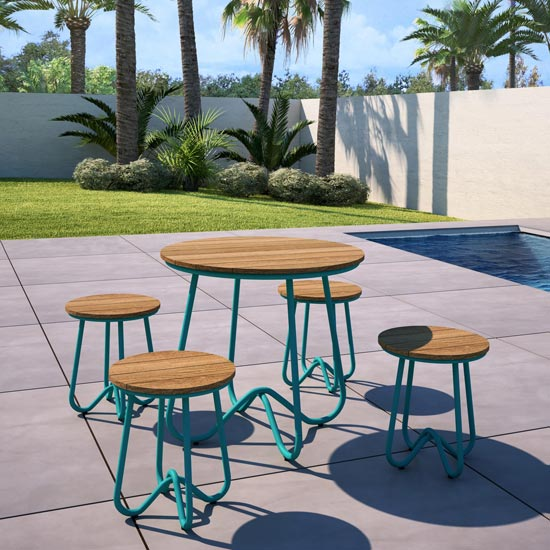 Novogratz Bobbi Bistro Set In Turquoise With 4 Stools_1