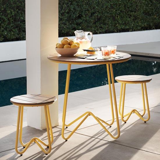 View Novogratz bobbi bistro set in yellow with 2 stools