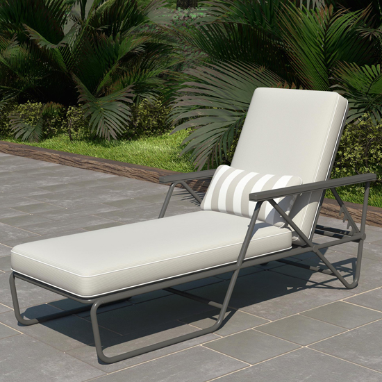 Novogratz Connie Sun Chaise Lounger In Grey With Grey Cushion