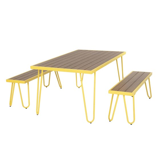 Novogratz Paulette Dining Set With 2 Bench In Yellow_3