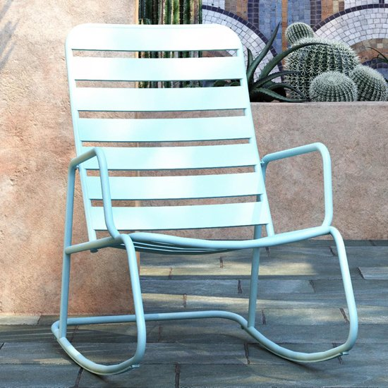 Novogratz Roberta Metal Rocking Chair In Aqua Haze