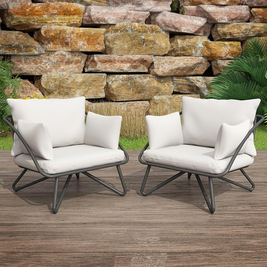 Novogratz Teddi Metal Lounge Chair Set In Charcoal Grey