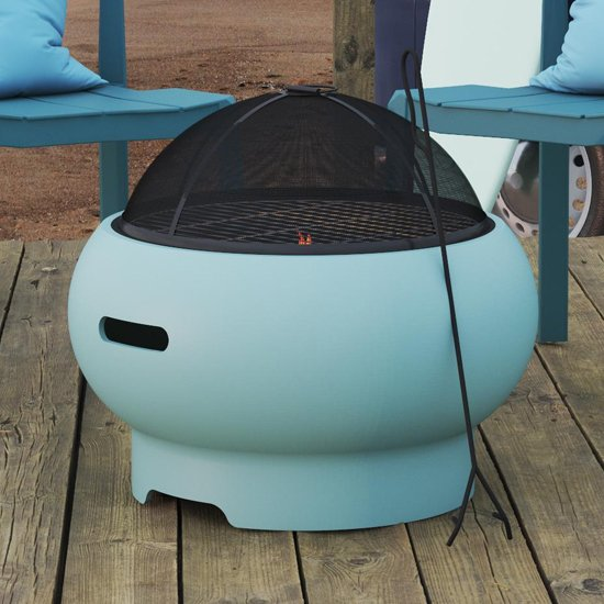 Novogratz Wood Burning Fire Pit With Grilling In Aqua Haze