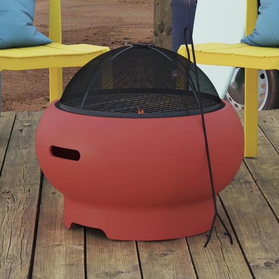 Novogratz Wood Burning Fire Pit With Grilling In Red