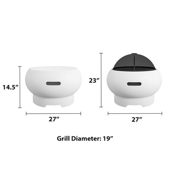 Novogratz Wood Burning Fire Pit With Grilling In White_5