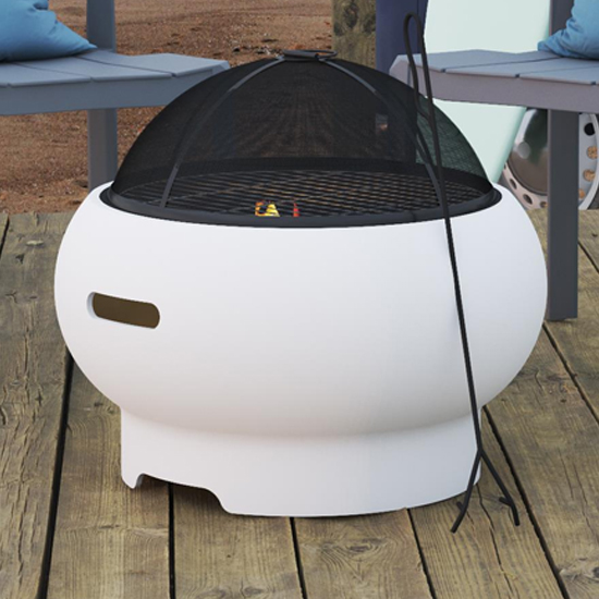 Novogratz Wood Burning Fire Pit With Grilling In White_1