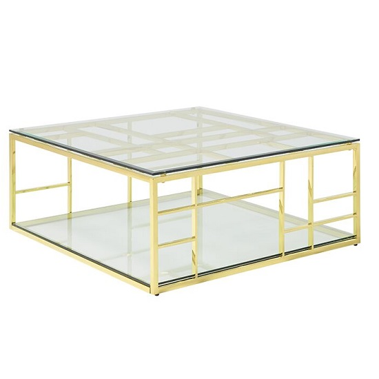 Nowak Glass Coffee Table Square In Clear With Gold Frame