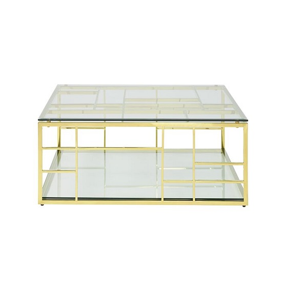 Nowak Glass Coffee Table Square In Clear With Gold Frame_2