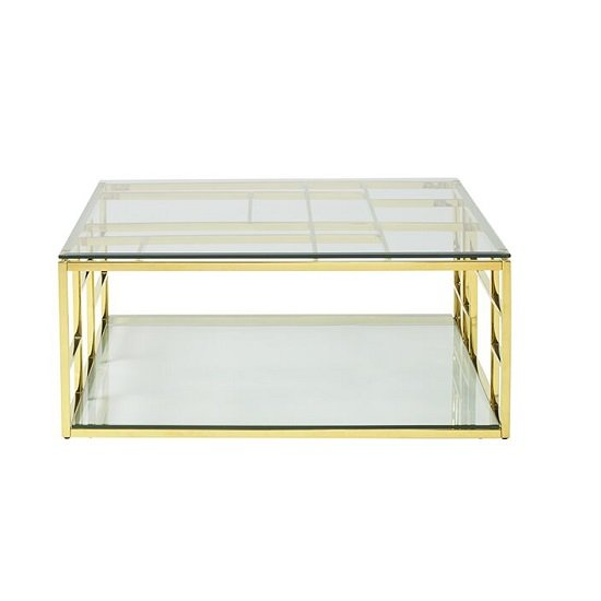 Nowak Glass Coffee Table Square In Clear With Gold Frame_3