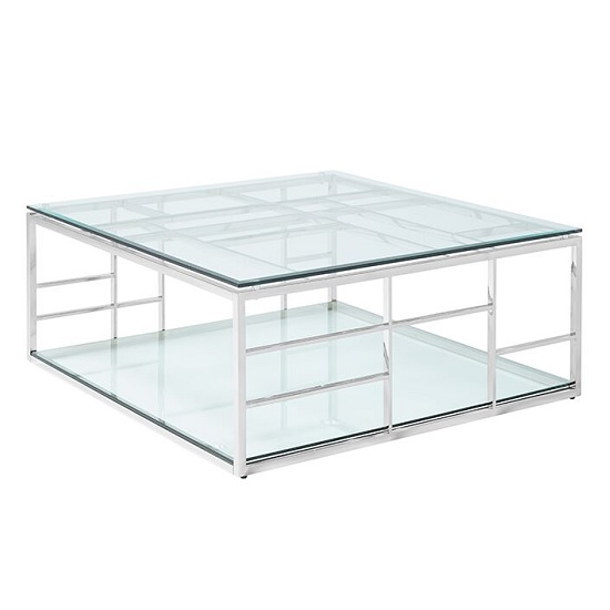 Nowak Glass Coffee Table Square In Clear With Silver Frame