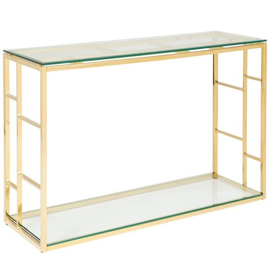 Nowak Glass Console Table Rectangular In Clear With Gold Frame