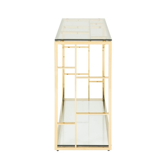 Nowak Glass Console Table Rectangular In Clear With Gold Frame_2