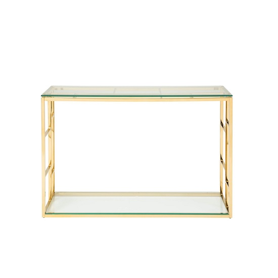Nowak Glass Console Table Rectangular In Clear With Gold Frame_3