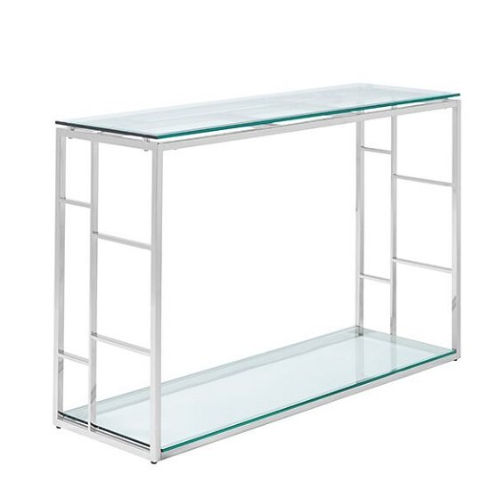 Nowak Glass Console Table Rectangular In Clear With Silver Frame